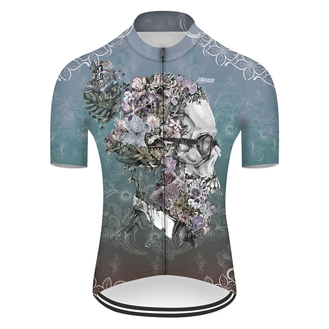 21Grams Men's Short Sleeve Cycling Jersey Nylon Polyester Blue Novelty Skull Floral Botanical Bike Jersey Top Mountain Bike MTB Road Bike Cycling Breathable Quick Dry Ultraviolet Resistant Sports