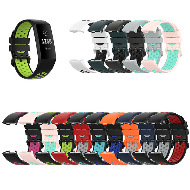 Compatible with Fitbit Charge4 Bands Breathable Silicone Replacement Sport Wristbands Compatible with Fitbit Charge 3 with Secure Watch Clasp Men Women Large Small