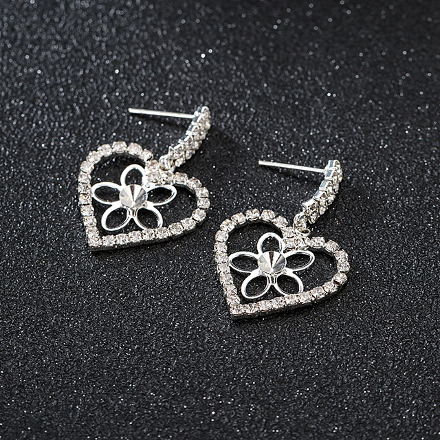 Women's Earrings Round Cut Heart Stylish Korean Sweet Earrings Jewelry Rose Gold / Silver For Gift Daily Work 1 Pair