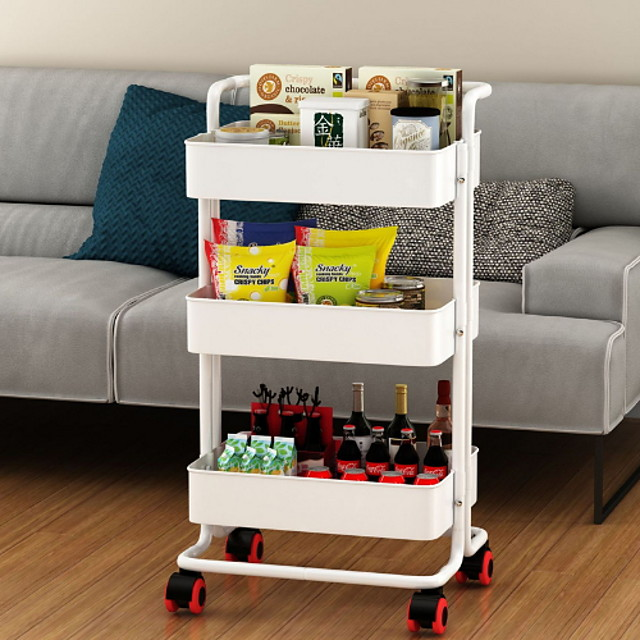 3 Tier Slim Storage Cart Mobile Shelving Organizer Slide Out Storage Rolling Utility Cart Tower Rack for Kitchen Bathroom Laundry Narrow Places Black/White