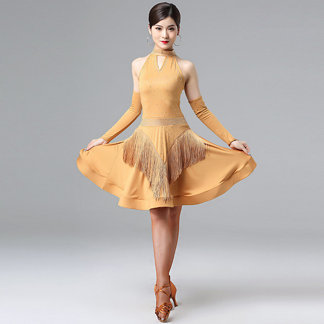 Latin Salsa Dance Dress Tassel Crystals / Rhinestones Women's Training Performance Sleeveless Natural Milk Fiber Polyester