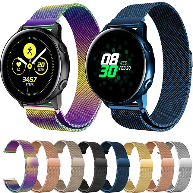 Watch Band for Gear S2 / Samsung Galaxy Active / Samsung Galaxy Watch Active 2 Samsung Galaxy Milanese Loop Stainless Steel Wrist Strap