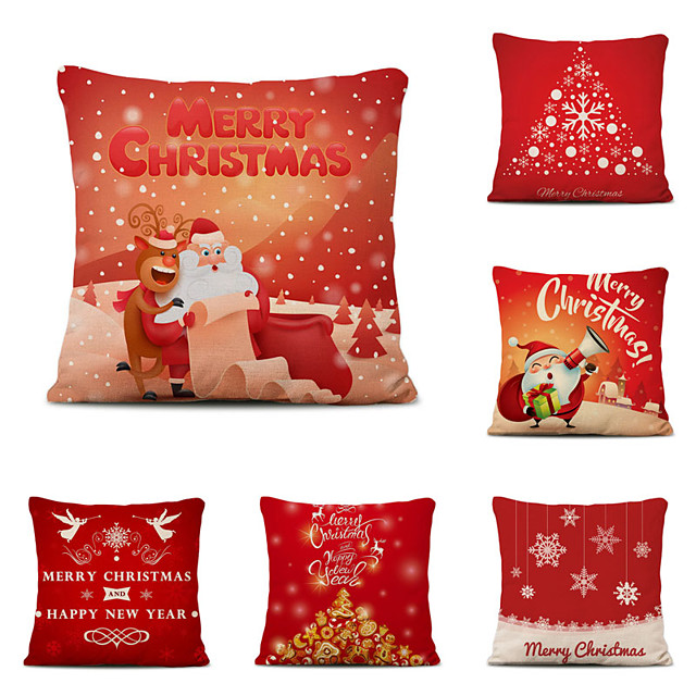 Set of 6 Christmas Pillow Covers Cotton Linen Santa Tree Reindeer Holiday Christmas Decoration