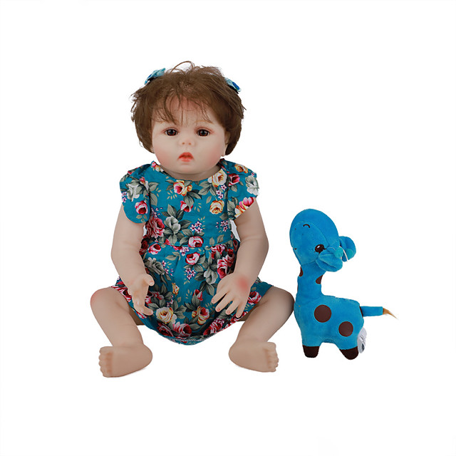 FeelWind 18 inch Reborn Doll Baby & Toddler Toy Reborn Toddler Doll Baby Girl Gift Cute Lovely Parent-Child Interaction Tipped and Sealed Nails Full Body Silicone LV004 with Clothes and Accessories