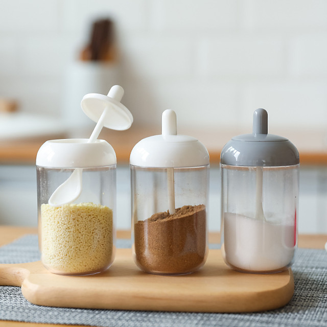 Kitchen Seasoning Storage Bottle 1 Pc with Spoon for Salt and Sugar
