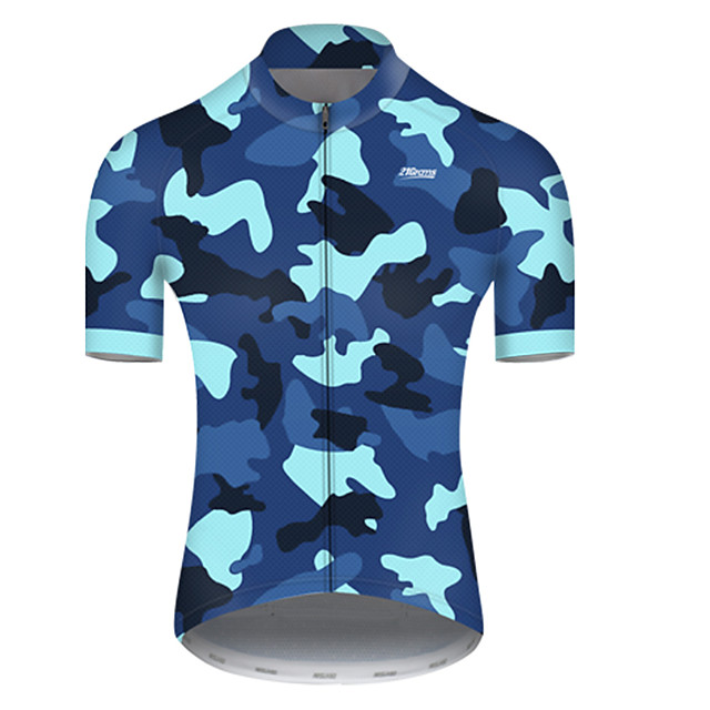 21Grams Men's Short Sleeve Cycling Jersey Nylon Polyester Black / Blue Patchwork Camo / Camouflage Bike Jersey Top Mountain Bike MTB Road Bike Cycling Breathable Quick Dry Ultraviolet Resistant Sports