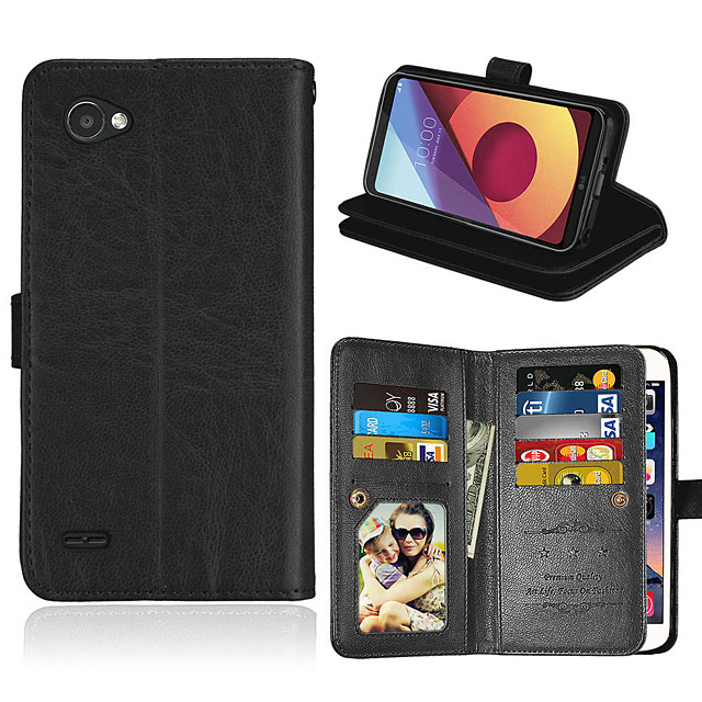 Case For LG LG X Style/ Q6/G6/V20/K3 2017/K10/K8/K7 Card Holder / Shockproof / Flip Full Body Cases Solid Colored PU Leather / TPU