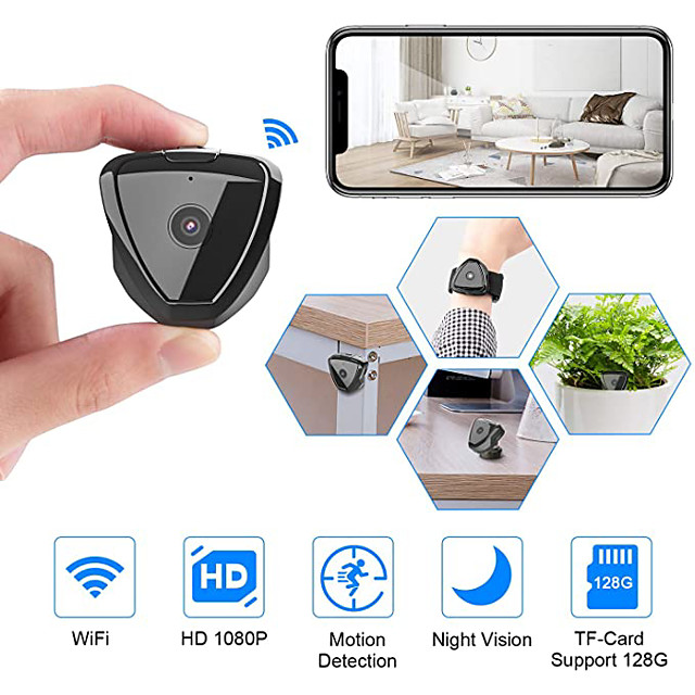 Mini Camera WiFi HD 1080P Mini Camera Wireless Camera Live Stream Motion Activated Camera Wireless Nanny Cam Security Camera for Home and Outdoor Version