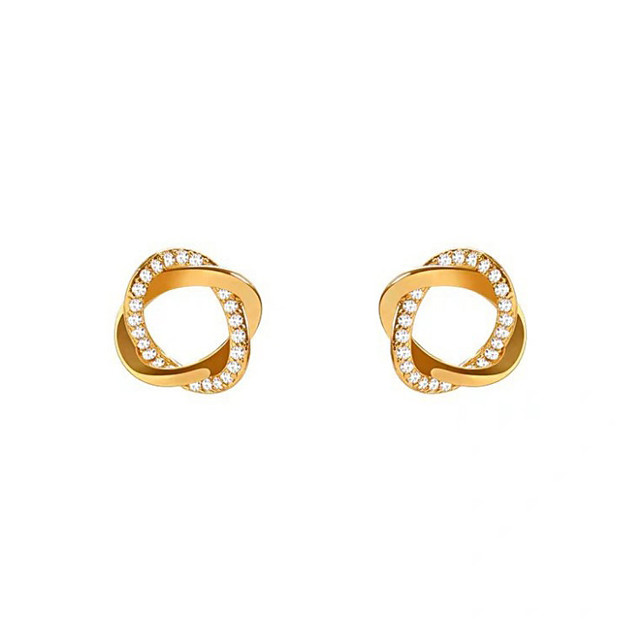 Women's Cubic Zirconia Stud Earrings Twisted Precious Trendy Cute Earrings Jewelry Gold For Party Daily Street Festival 1 Pair