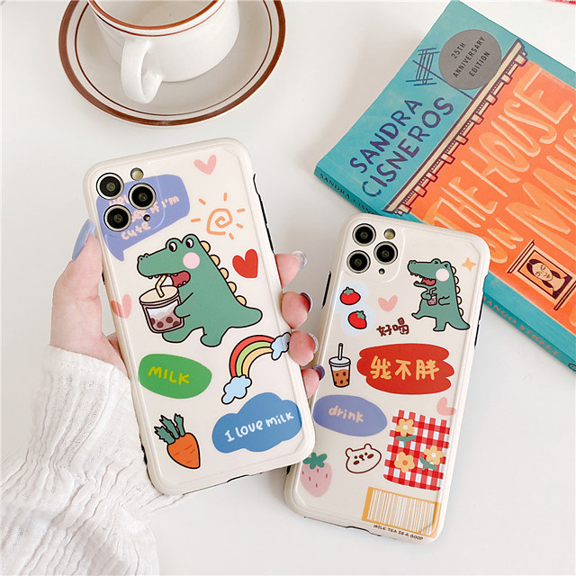 Case For Apple iPhone 11 Pro Max / iPhone XR Shockproof / Dustproof / IMD Back Cover Food / Animal / 3D Cartoon TPU