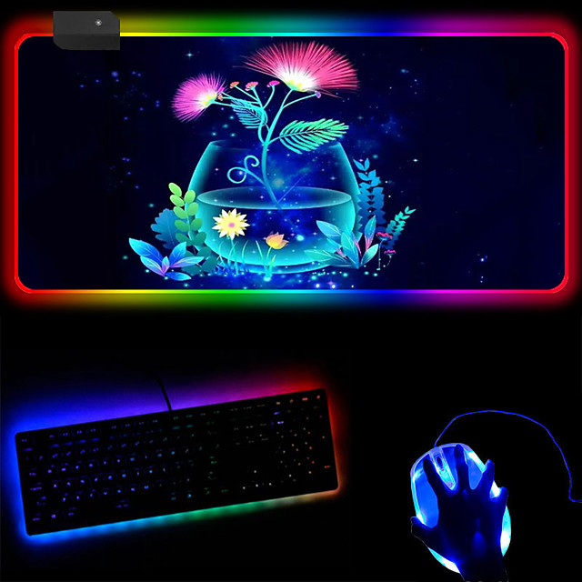 RGB Creative Launch Fluorescent Tree Colorful Luminous Mouse Pad Enlarged Desktop Desk Pad Keyboard Mouse Pad 250 * 350 * 4mm