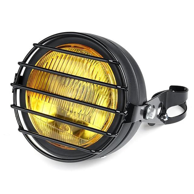 12V 6.5 Inch 35W Retro Vintage Motorcycle Halogen Headlamp High/Low Beam Set Metal Amber Lamp
