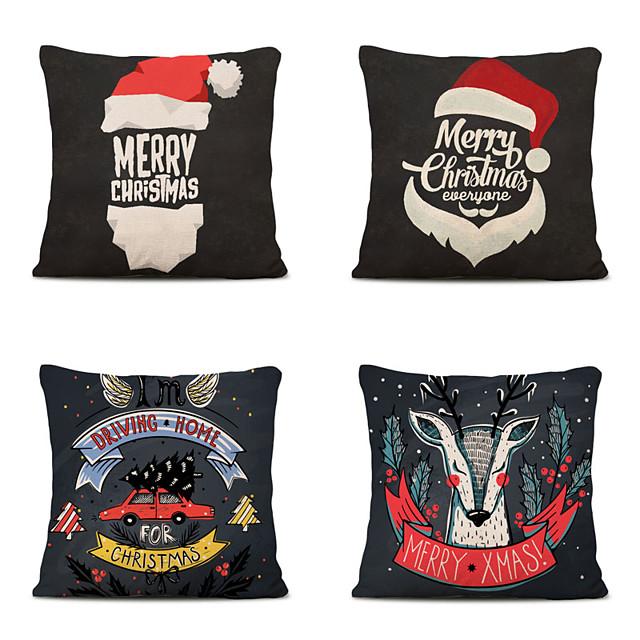 Set of 4 Linen Pillow Cover Animal Graphic Prints Christmas Throw Pillow
