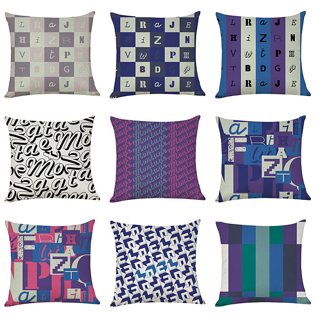 9 pcs Linen Pillow Cover, English Alphabet Geometric Casual Modern Square Traditional Classic