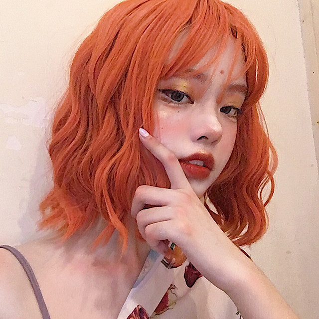 Synthetic Wig Curly With Bangs Wig Short Orange Synthetic Hair 12 inch Women's Simple Life Women Red