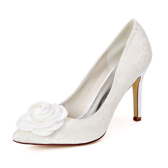 Women's Wedding Shoes Spring / Summer Stiletto Heel Pointed Toe Sweet Wedding Party & Evening Satin Flower Floral Lace White / Ivory