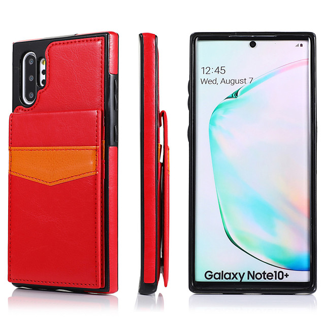 Case For Samsung Galaxy S20/S20 Plus/S20 Ultra/S10/S10E/S10 Plus/S9/S9 Plus/S8/S8 Plus/Note 10/Note 10 Pro/Note 9 Card Holder / Shockproof Back Cover Solid Colored PU Leather / TPU
