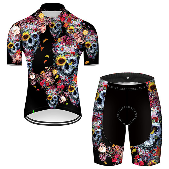 21Grams Men's Short Sleeve Cycling Jersey with Shorts Nylon Polyester Black / Red Novelty Skull Floral Botanical Bike Clothing Suit Breathable 3D Pad Quick Dry Ultraviolet Resistant Reflective Strips