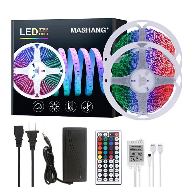 MASHANG 32.8ft 10M LED Strip Lights RGB Tiktok Lights 600LEDs Flexible Color Change SMD 5050 with 44 Keys IR Remote Controller and 100-240V Adapter for Home Bedroom Kitchen TV Back Lights DIY Deco