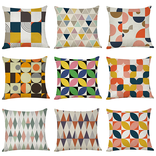 9 pcs Linen Pillow Cover, Colorful Geometric Casual Modern Square Traditional Classic