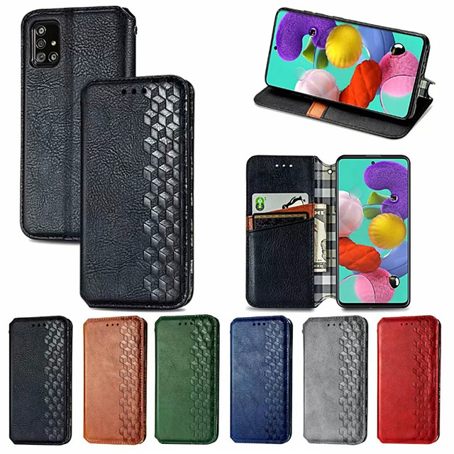 Case For Samsung Galaxy Galaxy A91 / M80S / Galaxy A81 / M60S / Galaxy A11 Card Holder / with Stand / Flip Full Body Cases Solid Colored PU Leather / TPU