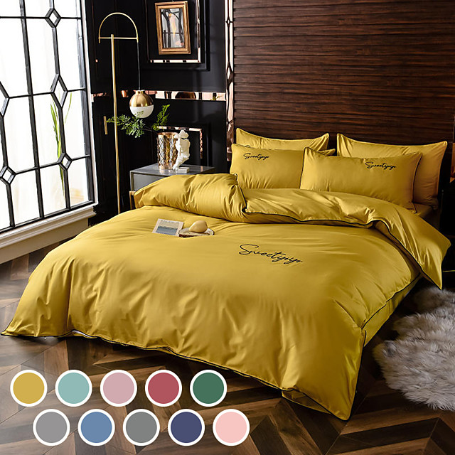 Simple european-style washed silk cotton bedding embroidery 4-piece set of single and double plain color