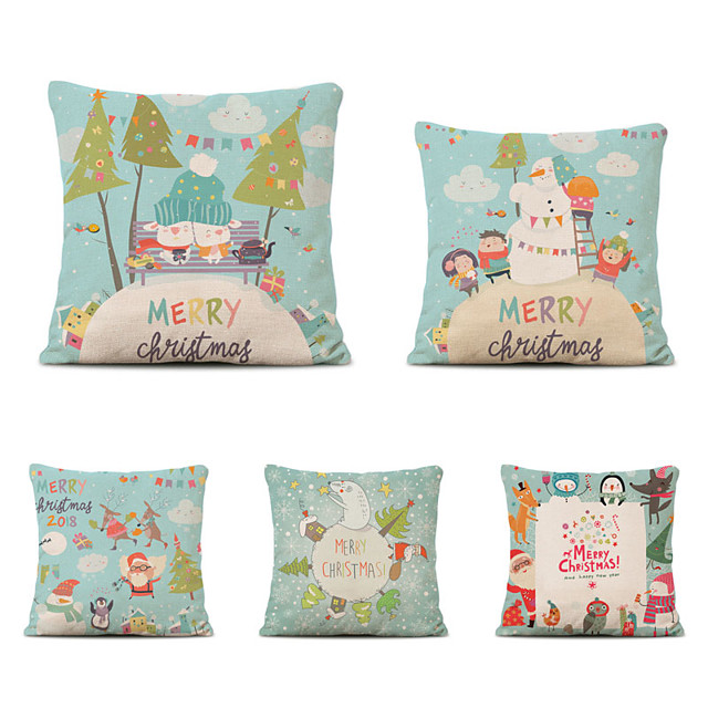 4 pcs Cotton Polyester Pillow Cover, Snowflake Pumpkin Classic Halloween Square Polyester Traditional Classic