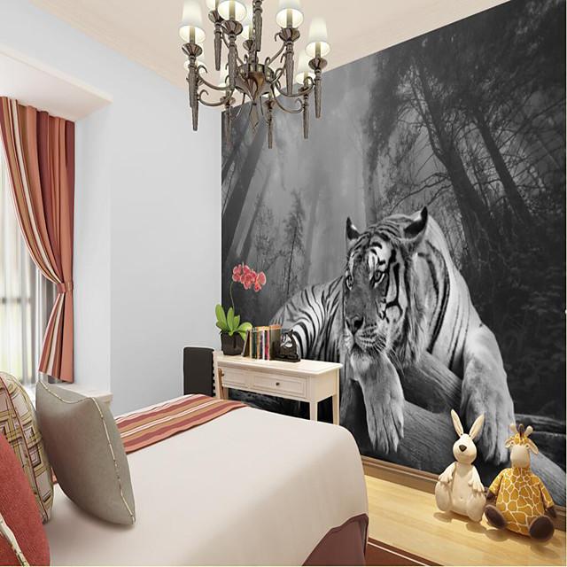 カスタム自己接着壁画タイガーは、背景の壁のコーヒーショップホテルの壁の装飾アートキャンバス素材接着剤必要な壁の布の部屋の壁装に適しています