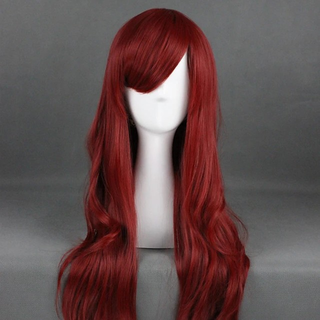 Cosplay Wig Lolita Curly Cosplay Halloween With Bangs Wig Long Red Synthetic Hair 31 inch Women's Anime Cosplay Party Red