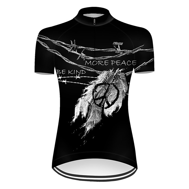 21Grams Women's Short Sleeve Cycling Jersey Nylon Polyester Black Leaf Peace & Love Bike Jersey Top Mountain Bike MTB Road Bike Cycling Breathable Quick Dry Ultraviolet Resistant Sports Clothing