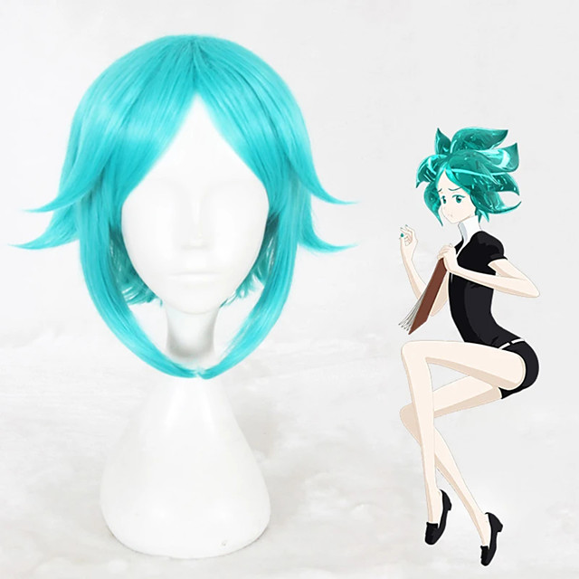 Cosplay Wig Phosphophyllite Land of the Lustrous Straight Cosplay Layered Haircut With Bangs Wig Short Blue Synthetic Hair 14 inch Women's Anime Cosplay Cool Blue