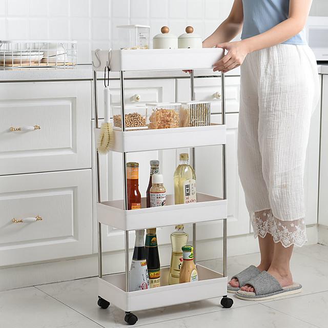 Bathroom Storage Rack 4 Layers Kitchen Narrow Cabinet Living Room Gap Shelf Home Furniture Movable Wheels Shelf