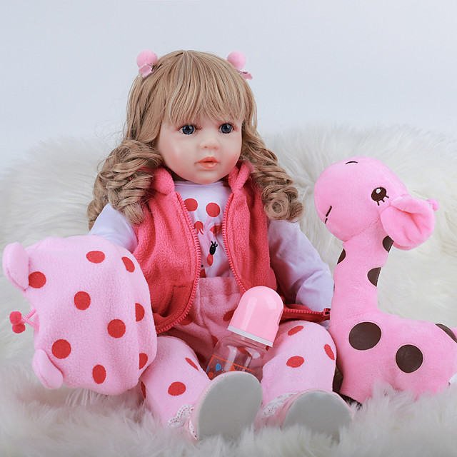 FeelWind 24 inch Reborn Doll Baby & Toddler Toy Reborn Toddler Doll Baby Girl Gift Cute Lovely Parent-Child Interaction Tipped and Sealed Nails 3/4 Silicone Limbs and Cotton Filled Body LV0109 with