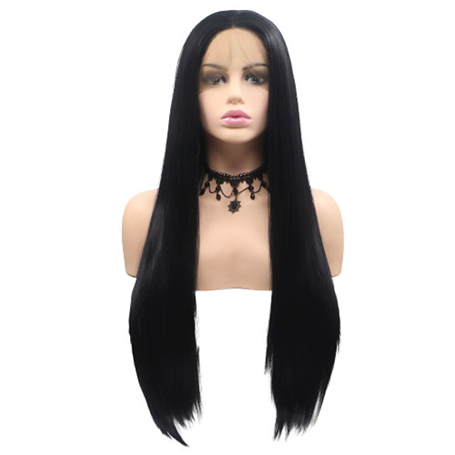 Synthetic Lace Front Wig Matte Layered Haircut Lace Front Wig Medium Length Black#1B Synthetic Hair 22-26 inch Women's Party Classic Women Black Sylvia