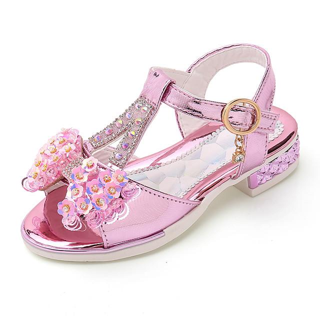Girls' Sandals Roman Shoes PU Little Kids(4-7ys) / Big Kids(7years +) Bowknot Pink / Gold / Silver Summer