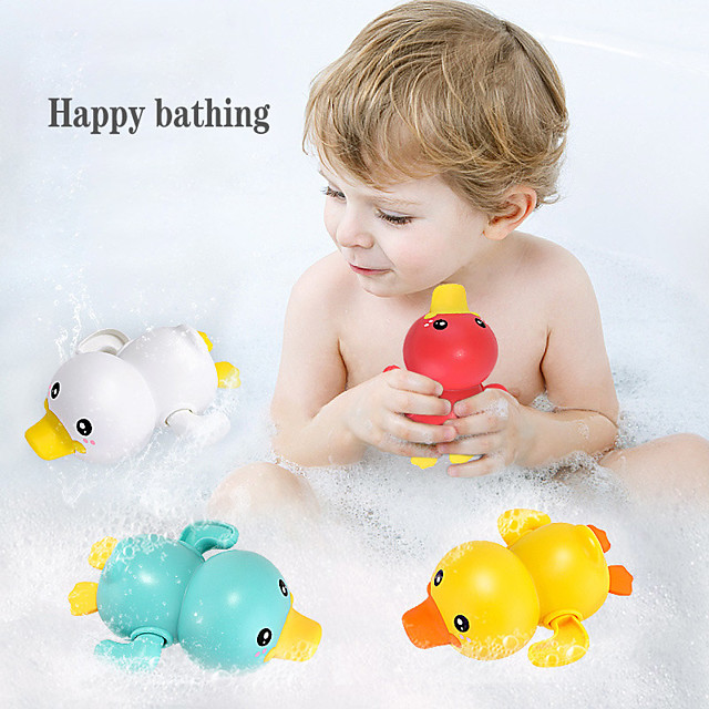 Summer New Bathroom Bath Shower Baby Clockwork Swimming Children Play Water Cute Little Yellow Duck Bathing Bathtub Toys For Kid Color Random