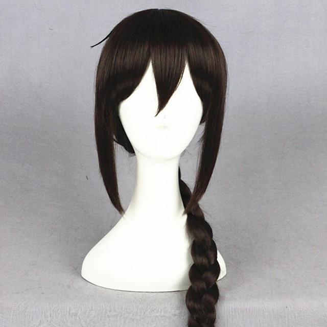 Cosplay Costume Wig Cosplay Wig Orihara Mairu DuRaRaRa Straight Cosplay With Bangs Wig Long Brown Synthetic Hair 24 inch Women's Anime Cosplay Plait Hair Brown
