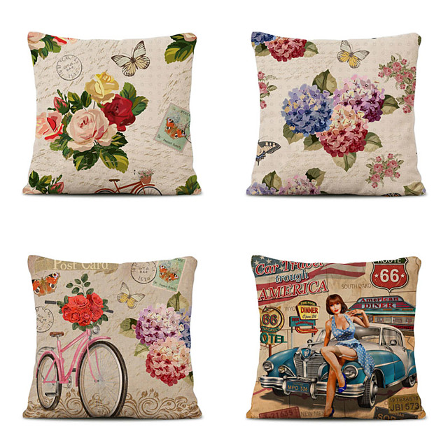 Set of 4 Vintage Christmas Linen Square Decorative Throw Pillow Cases Sofa Cushion Covers 18x18