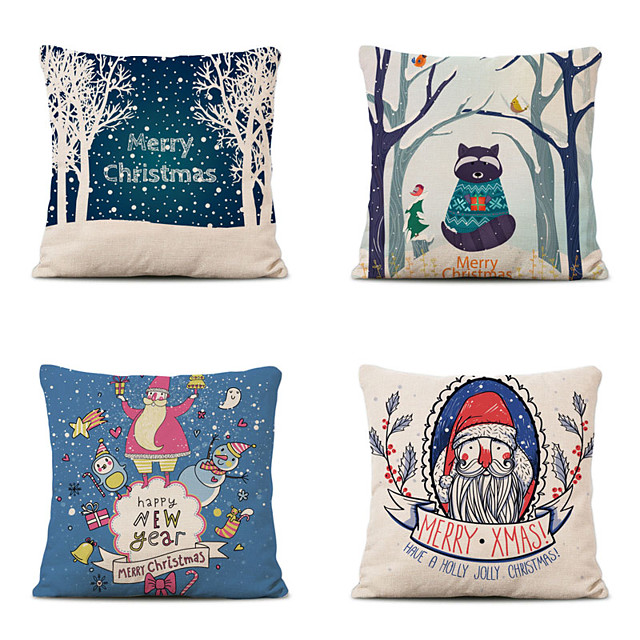 Set of 4 Christmas Pillow Covers Cotton Linen Santa Tree Reindeer Holiday Christmas Decoration