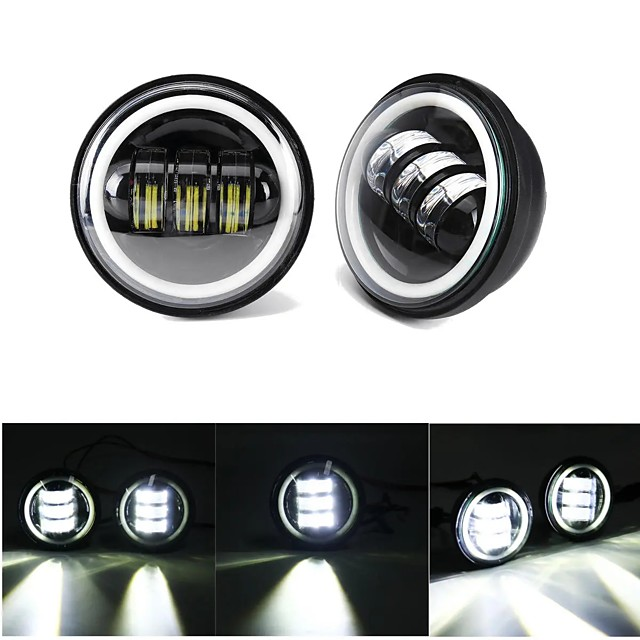 4 Inch 10-32V 2400LM 6000K Motorcycle LED Front Headlight Flood Light IP67 CE Spot Fog Passing Light With Angel Circle Lights