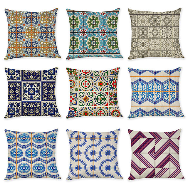 9 pcs Linen Pillow Cover, Vintage Geometric Geometic Casual Modern Square Traditional Classic