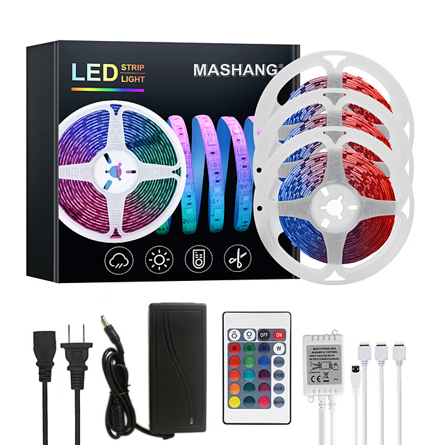 MASHANG 15M(3*5M) LED Strip Lights RGB Tiktok Lights 450LEDs Flexible Color Change SMD 5050 with 24 Keys IR Remote Controller and 100-240V Adapter for Home Bedroom Kitchen TV Back Lights DIY Deco