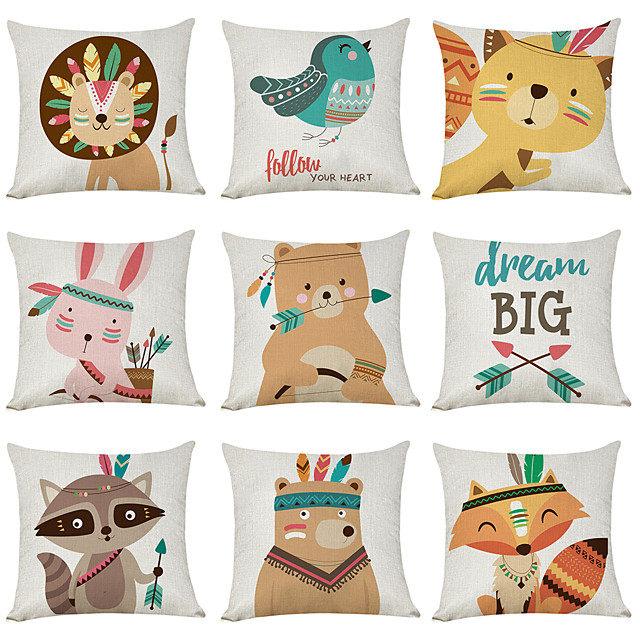 9 pcs Linen Pillow Cover, Cartoon Animals Casual Modern Square Traditional Classic