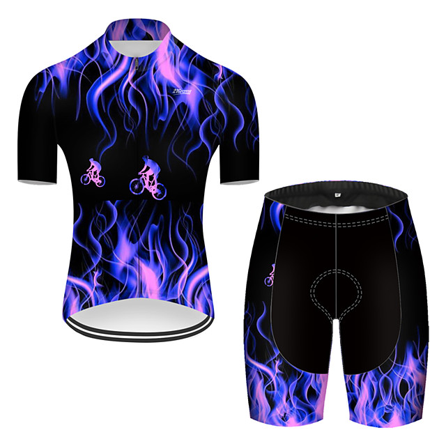 21Grams Men's Short Sleeve Cycling Jersey with Shorts Nylon Polyester Black / Blue 3D Lightning Gradient Bike Clothing Suit Breathable 3D Pad Quick Dry Ultraviolet Resistant Reflective Strips Sports
