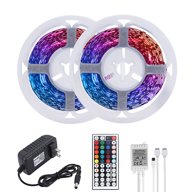 MASHANG 32.8ft 10M LED Strip Lights RGB Tiktok Lights 600LEDs Flexible Color Change SMD 2835 with 44 Keys IR Remote Controller and 100-240V Adapter for Home Bedroom Kitchen TV Back Lights DIY Deco