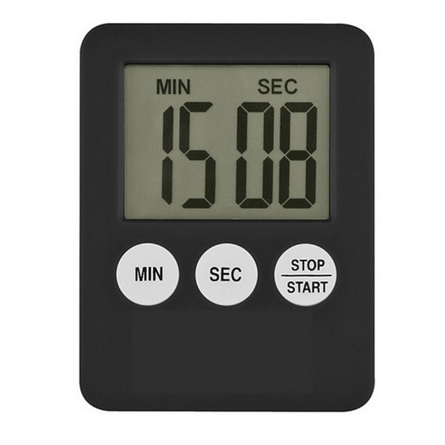 1Pc Super Thin LCD Digital Screen Kitchen Timer Square Cooking Count Up Countdown Alarm Magnet Clock