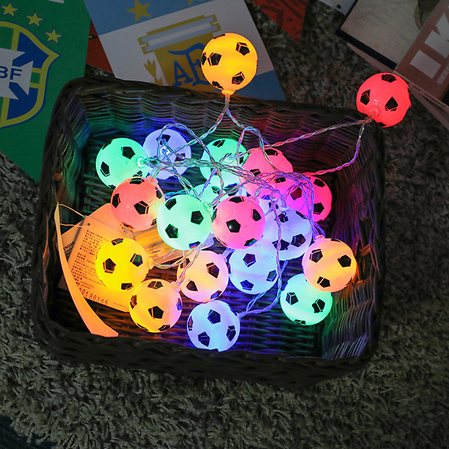 String Lights 40 LEDs Soccer Football Accessories Atmosphere For Bar Decoration Party Club Fans Supplies World Cup