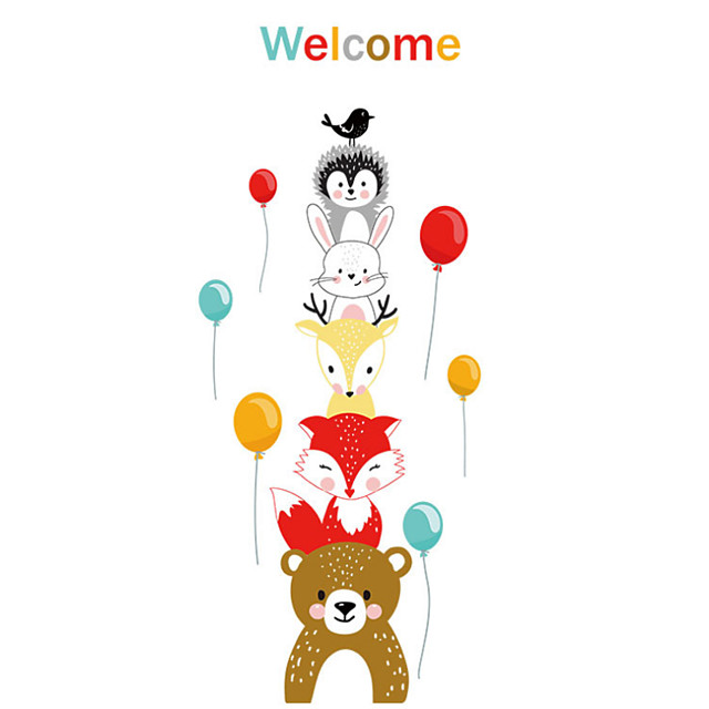 Animals Cute Wall Stickers Animal Wall Stickers Decorative Wall Stickers PVC Home Decoration Wall Decal Wall / Window Decoration 1pc