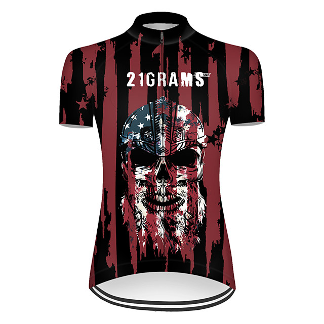 21Grams Women's Short Sleeve Cycling Jersey Nylon Polyester Black / Red Skull American / USA National Flag Bike Jersey Top Mountain Bike MTB Road Bike Cycling Breathable Quick Dry Ultraviolet