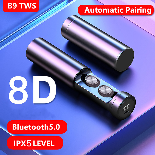 LITBest B9 TWS True Wireless Earbuds Bluetooth5.0 Stereo with Microphone with Charging Box Sweatproof Auto Pairing for Sport Fitness
